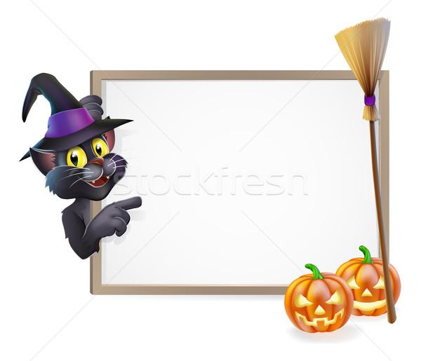 Halloween Black Cat Sign Stock photo © Krisdog