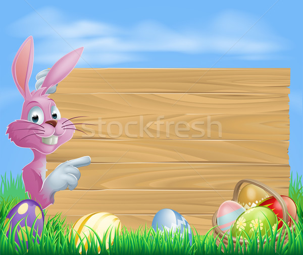 Pink chocolate eggs sign Easter bunny Stock photo © Krisdog