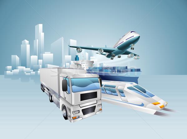 Logística ciudad negocios entrega transporte vehículos Foto stock © Krisdog