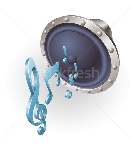 Zene hangszóró illusztráció hangjegyek hang fehér Stock fotó © Krisdog