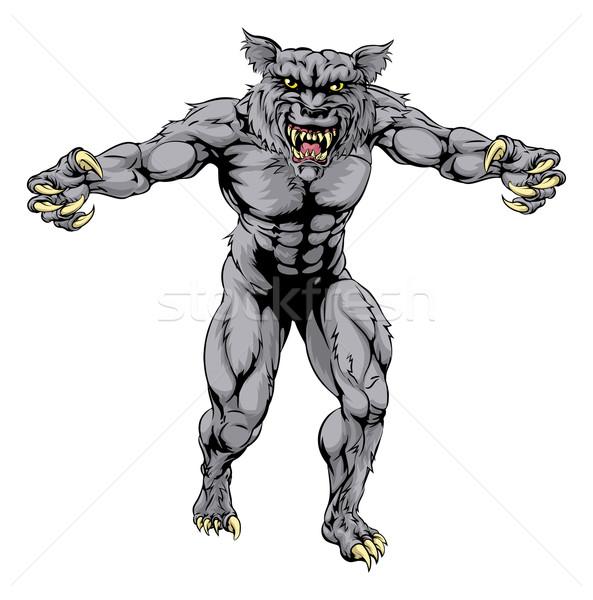 Farkasember farkas ijesztő sportok kabala illusztráció Stock fotó © Krisdog