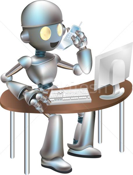 Illustration of robot sitting at desk Stock photo © Krisdog
