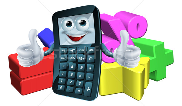 Calculator man and math symbols Stock photo © Krisdog