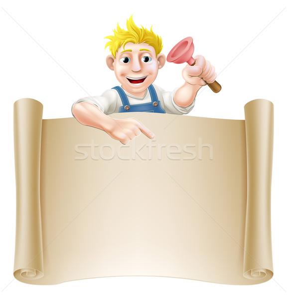 Plumber or janitor and scroll Stock photo © Krisdog