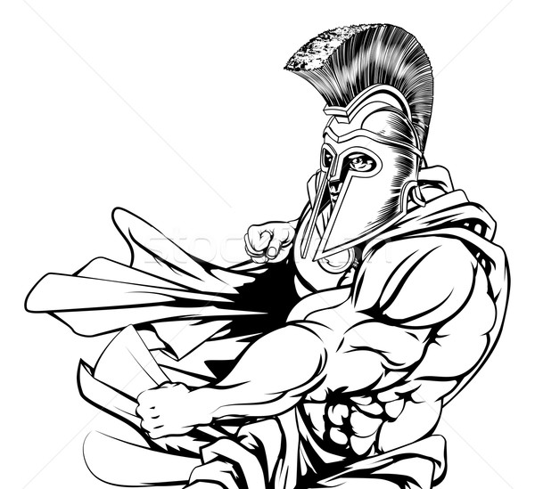 Stock photo: Spartan Character Punching