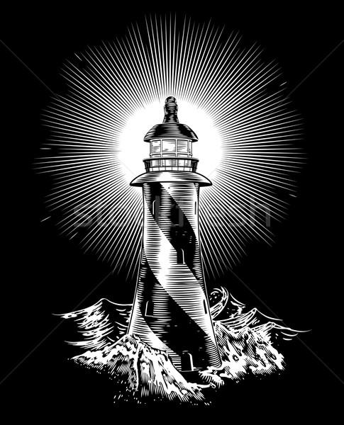 Lighthouse rough waves and rocks Stock photo © Krisdog
