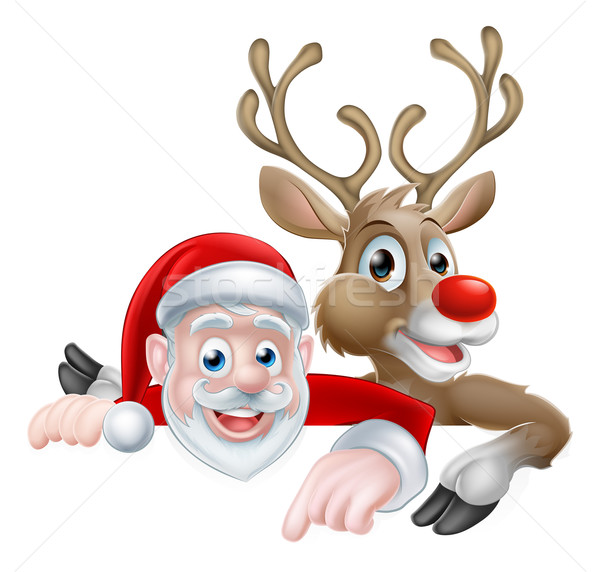 Santa and Reindeer Christmas Cartoon Stock photo © Krisdog