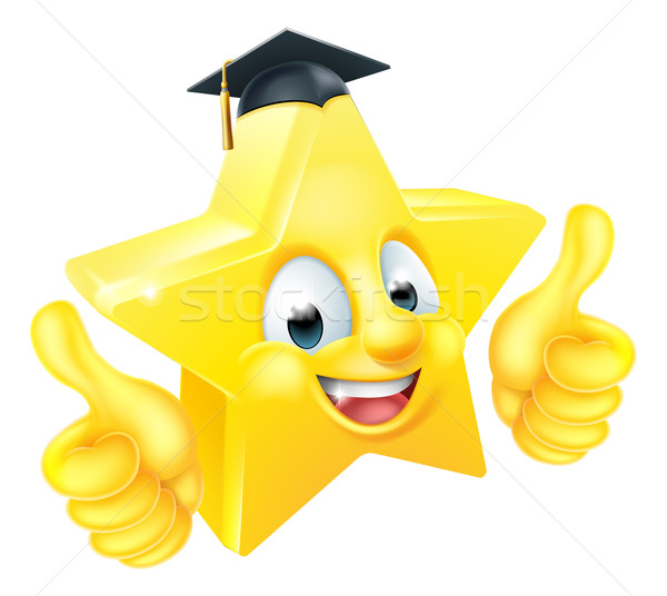 Star afstuderen emoticon mascotte cartoon afgestudeerde Stockfoto © Krisdog