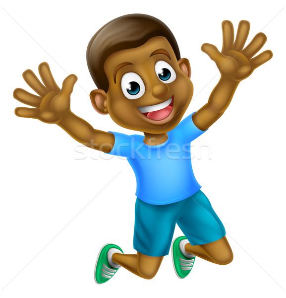 Foto stock: Feliz · desenho · animado · preto · menino · saltando · jovem