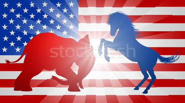 Imagine de stoc: American · alegere · măgar · elefant · lupta · siluetă