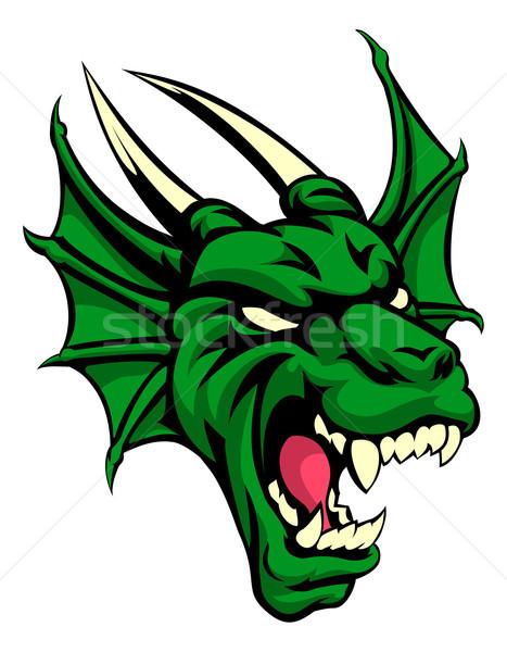 Dragon animale mascotte illustrazione sport testa Foto d'archivio © Krisdog