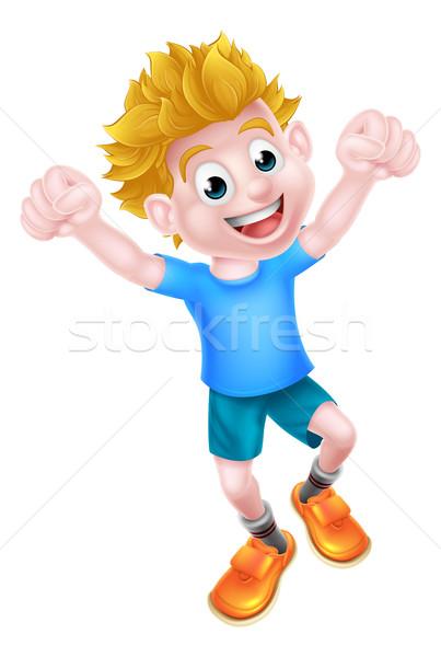 Cartoon Boy Jumping Stock photo © Krisdog