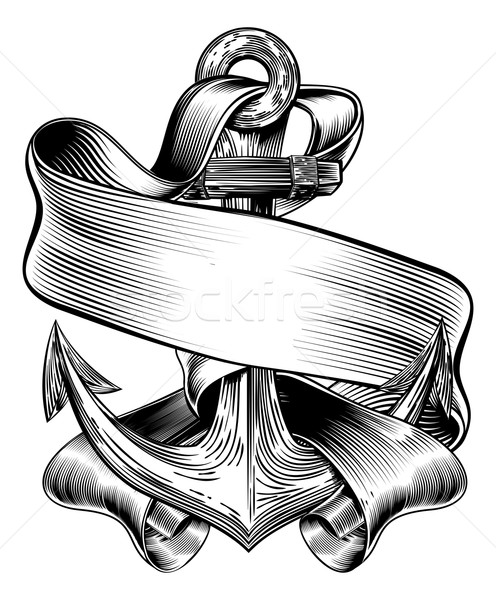 Anchor BAnner Vintage Woodcut Stock photo © Krisdog