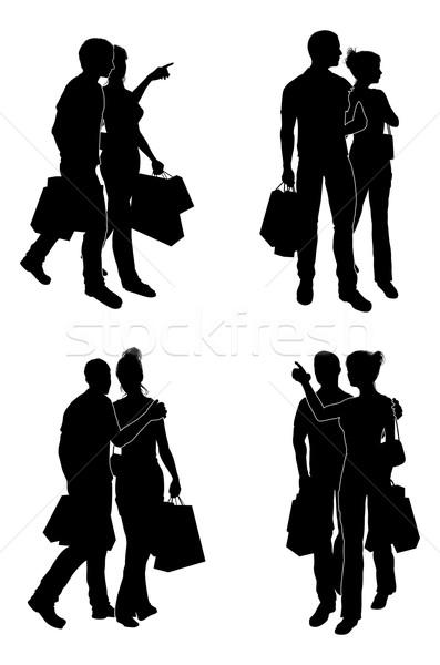 Shopping Couples Silhouettes Stock photo © Krisdog