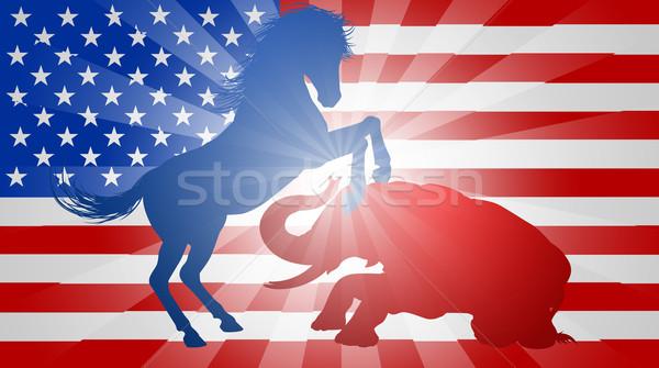 Americano eleição burro elefante silhueta Foto stock © Krisdog