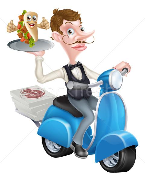 Pincér moped csomagolás kebab illusztráció étel Stock fotó © Krisdog