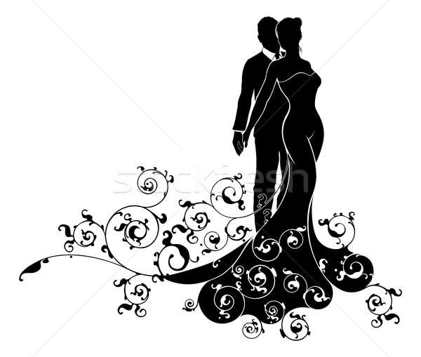 Abstract Bride and Groom Wedding Silhouette Stock photo © Krisdog