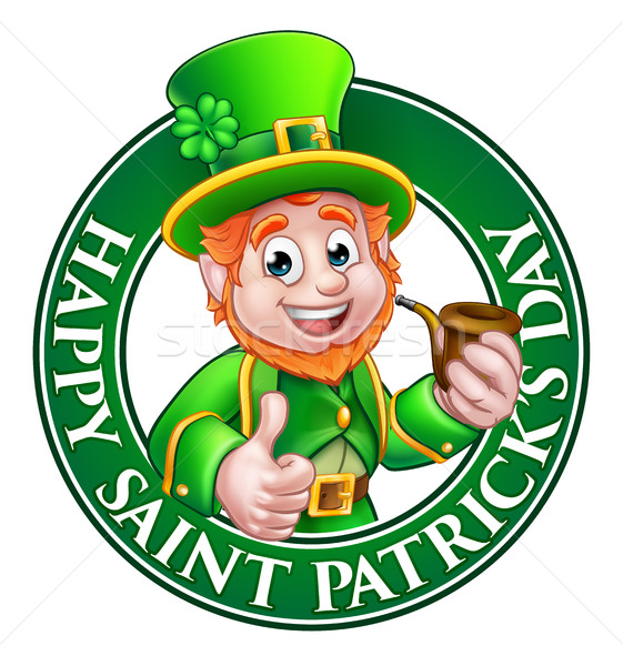 Saint Patricks Day Cartoon Leprechaun Sign Stock photo © Krisdog