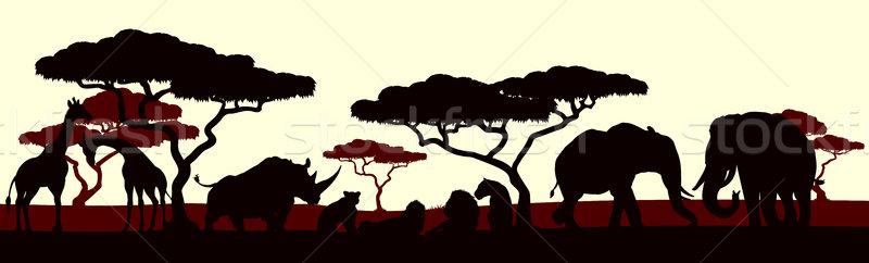 Animal Silhouette African Safari Landscape Scene  Stock photo © Krisdog