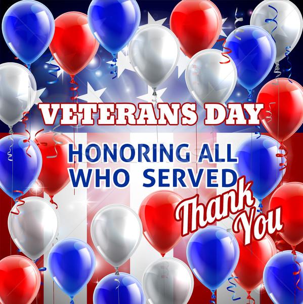 Veterans Day American Flag Balloons Background Stock photo © Krisdog