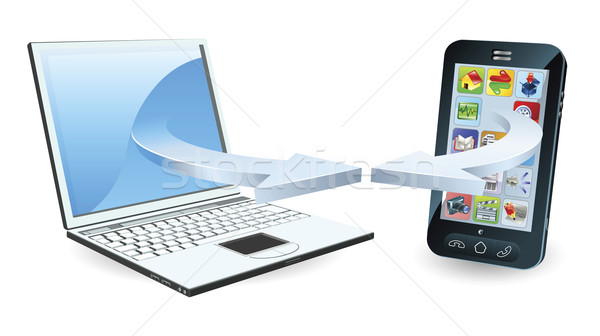 Stockfoto: Laptop · smartphone · communiceren · draadloze · technologie · business · telefoon