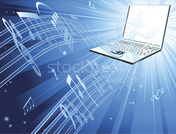 Laptop computer music background Stock photo © Krisdog