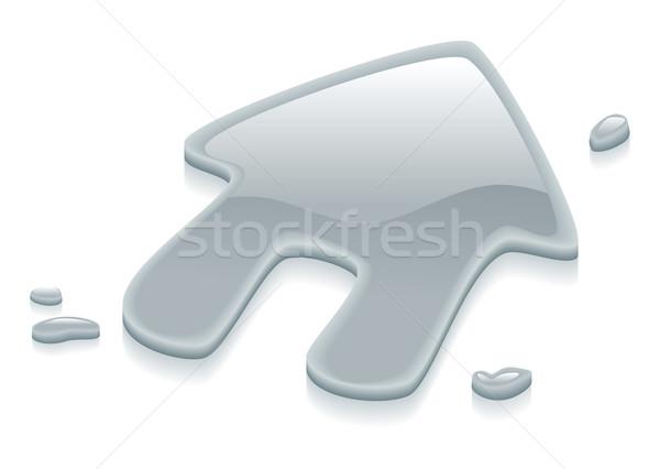 Liquid silver metal house symbol sign Stock photo © Krisdog