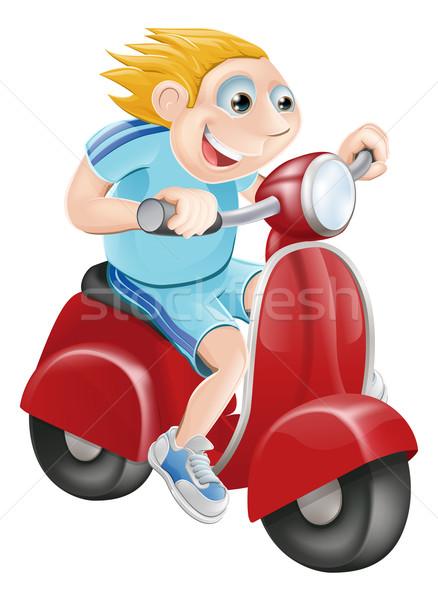 Happy man on his moped Stock photo © Krisdog