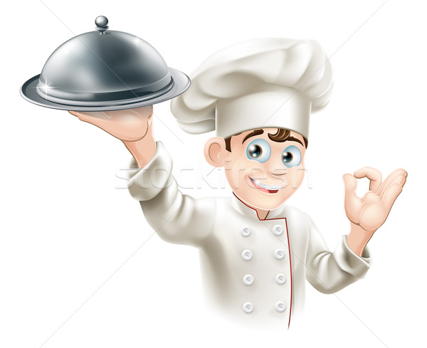 Happy chef holding platter Stock photo © Krisdog