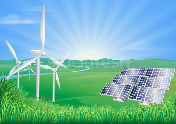Renewable energy illustration Stock photo © Krisdog