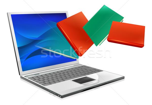 ノートパソコン 図書 教育 電子ブック ラップトップコンピュータ 飛行 ストックフォト © Krisdog