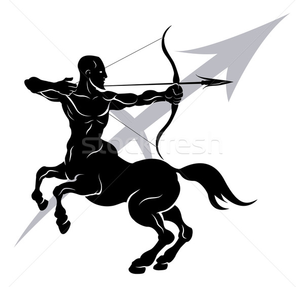 Zodiac horoscope astrologie signe illustration archer Photo stock © Krisdog