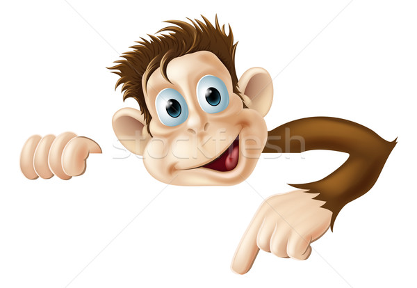 Pointant singe illustration cute cartoon derrière Photo stock © Krisdog
