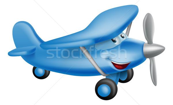 Cute airplane cartoon character Stock photo © Krisdog