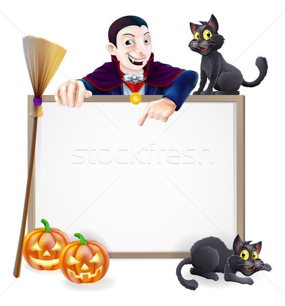 Drakula halloween felirat klasszikus vámpír karakter Stock fotó © Krisdog