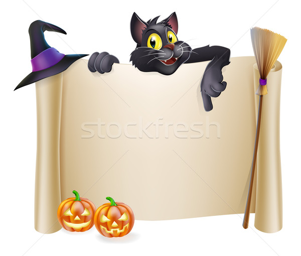 Halloween scroll with cat Stock photo © Krisdog