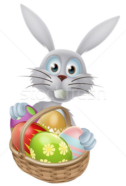 Huevos cesta Conejo de Pascua conejo blanco decorado Foto stock © Krisdog