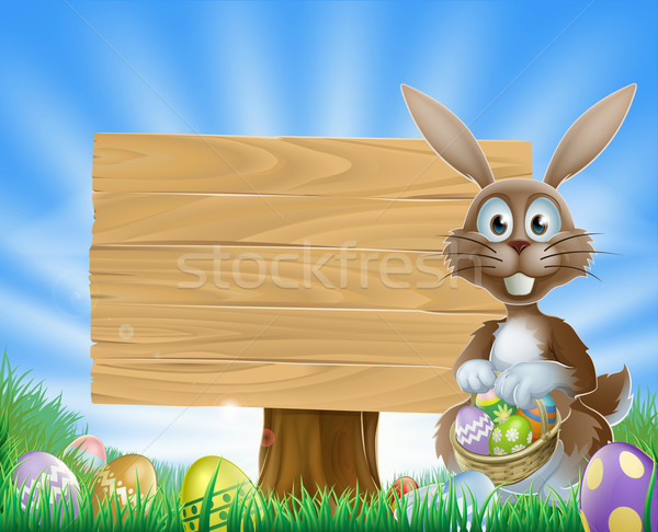 Easter eggs bunny and wooden sign  Stock photo © Krisdog