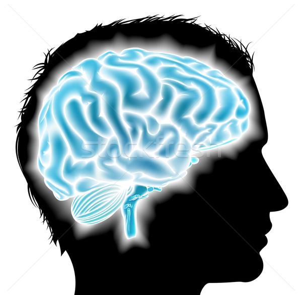 Férfi izzó agy fej sziluett szellemi Stock fotó © Krisdog