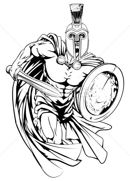 Spartaans man lopen illustratie krijger karakter Stockfoto © Krisdog