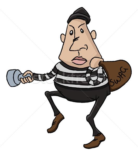 Ladrão ladrão desenho animado ilustração tocha Foto stock © Krisdog