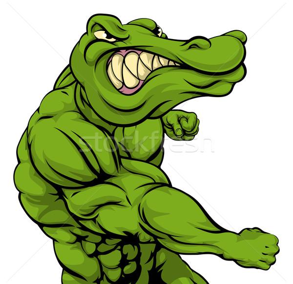 Aligator krokodyla maskotka pięść twarz Zdjęcia stock © Krisdog