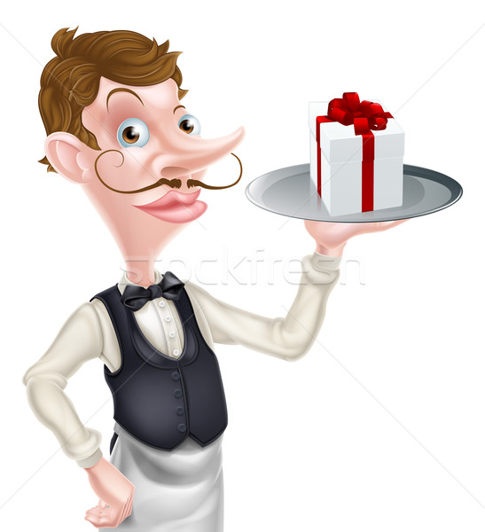 Pincér ajándék illusztráció rajz tart tálca Stock fotó © Krisdog