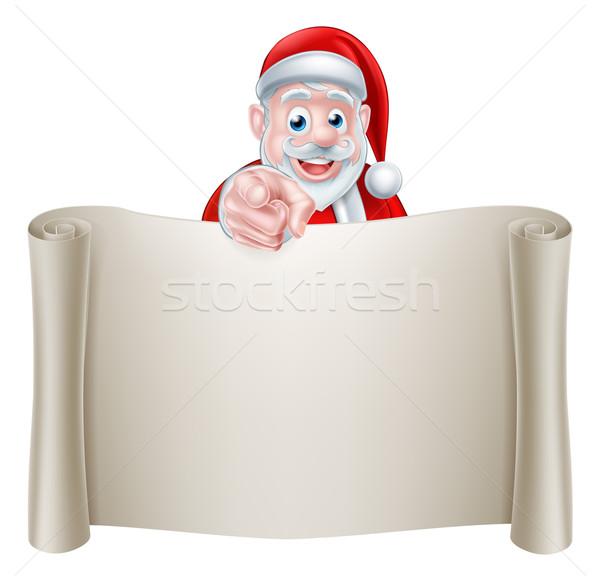 Рождества иллюстрация Cartoon Дед Мороз указывая Сток-фото © Krisdog