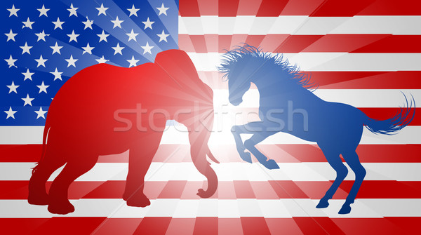 Animals Fighting American Election Concept Stock photo © Krisdog