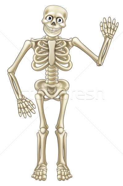 Cartoon Halloween Skeleton Waving Stock photo © Krisdog