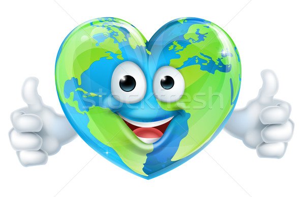 Earth Day Heart World Cartoon Character Stock photo © Krisdog