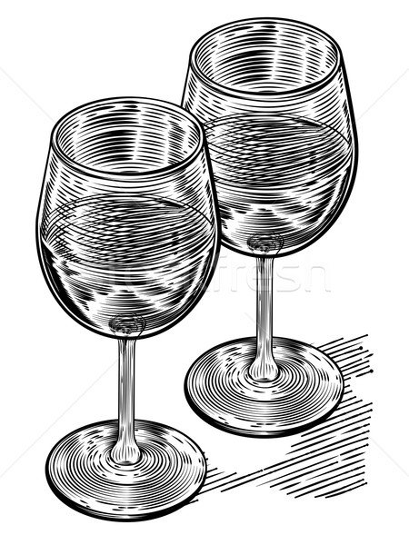 Vinatge Woodblock Style Wine Glasses Stock photo © Krisdog