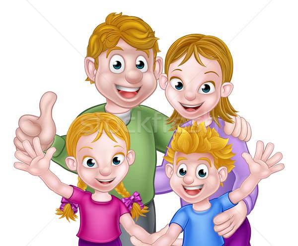 Сток-фото: Cartoon · семьи · сцена · дети · родителей · детей
