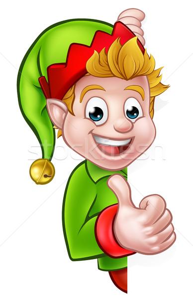 Thumbs Up Christmas Elf Cartoon Character Stock photo © Krisdog